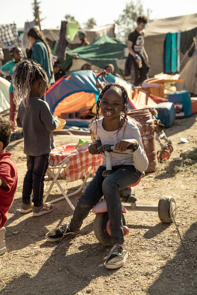 Children in a refugee camp in Greece