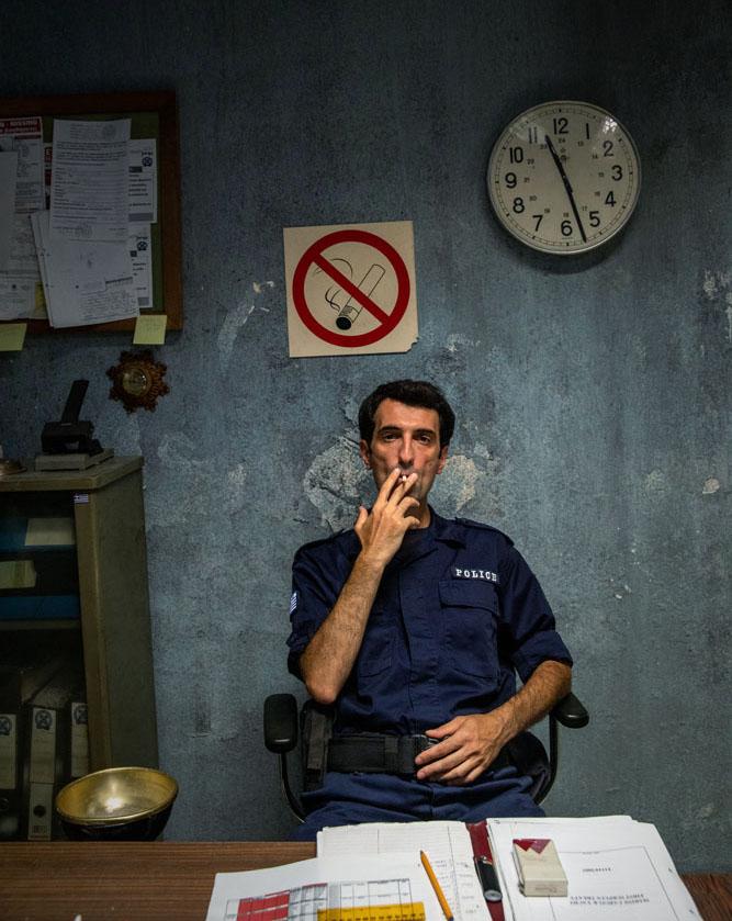 Policeman at a greek police station