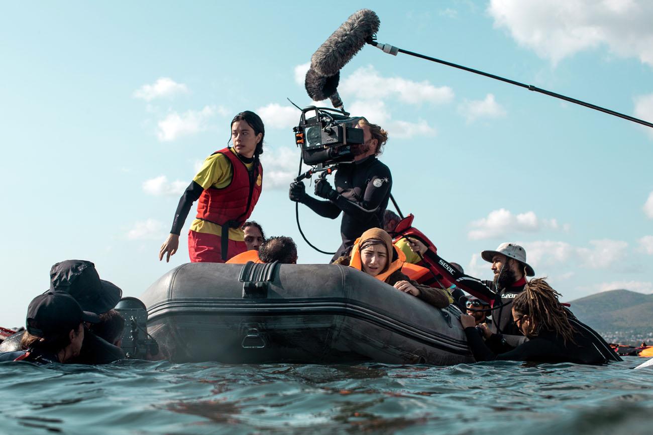 "Anna Castillo and film crew of ""Mediterraneo"""